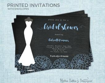 Printed Peony Bridal Shower Invitation, Dress, Blue Black, Simple, Brunch, Bachelorette, Couples, Getting Married, Wedding, Plain, MB037
