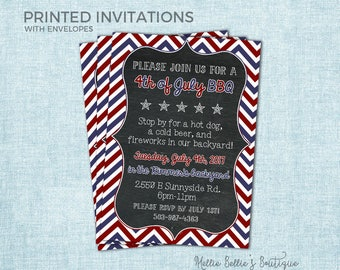 Printed 4th of July Invitations, Fireworks, Fourth of July, Chevron, Red White Blue, Independence Day Party, Birthday, MB136