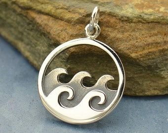 Sterling Silver Waves Charm