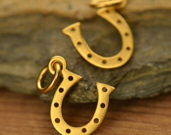 Sterling Silver Gold Plated Tiny Horseshoe Charm