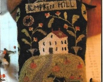 "WITH THY NEEDLE & Thread ""Pumpkin Hill"" PN245 | PunchNeedle Pattern and Weavers Cloth | Primitive, Brenda Gervais, Autumn, Pumpkin, Ornament"