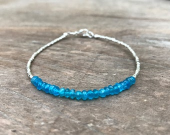 Neon Blue Apatite and Fine Silver Bracelet, Beaded Gemstone Bracelet