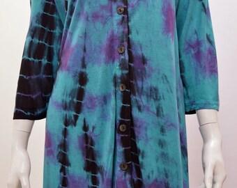 Plus Size Hippie Boho Tie Dye Hanky Hem Tunic Top Turquoise Freesize 18 20 22 24 26 28 30