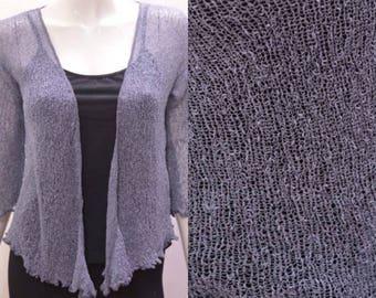 Boho chic crochet style knit shrug cardigan Dark Grey onesize 10 12 14 16 18 20
