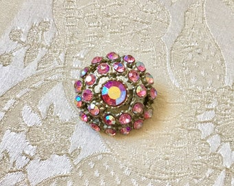 Vintage Pink Aurora Borealis Round Rhinestone Brooch Destash Wholesale Resale Bride Wedding