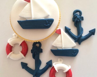 BOATS LIFEBUOYS & ANCHORS edible sugar paste cake decorations