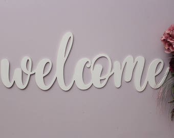 Welcome Wood Sign, Welcome Sign, Welcome Wooden Sign, Laser Cut Wood Sign, Cursive Wood, Greeting Sign, Home Decor, Welcome Wedding Decor