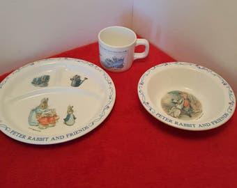 child plate set Peter rabbit and friends 3 piece dish set