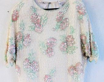 Silk Beaded Floral Dress