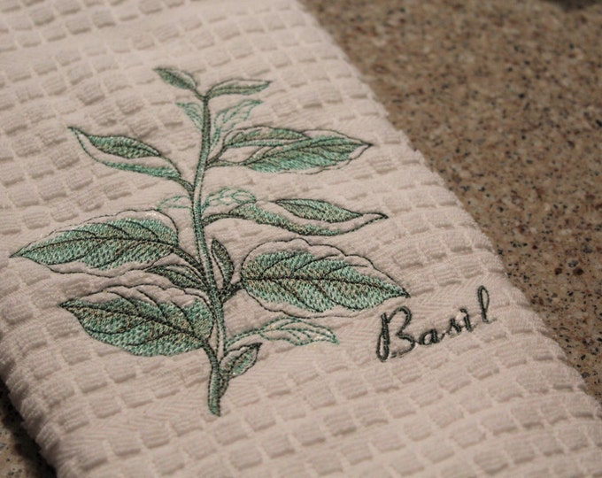 Kitchen Towel, Kitchen Decor, Embroidered Towel, Herbs, Housewarming Gift