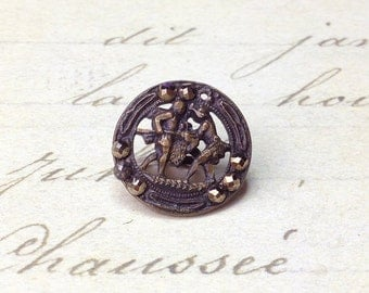 Small Antique Metal Picture openwork steel cut Button 15 mm