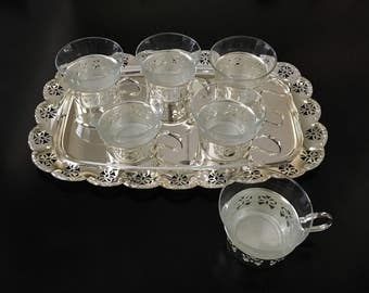 Schott Verran Germany Glass Teacups and Silverplate Holders With Tray Schott Verran Teacups Set of Six