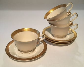 Bracelet Old Ivory Syracuse China Set of Four Cup and Saucers