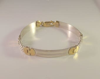 Italian Sterling Link Bracelet, Two Tone Silver Vermeil Gold, Stacking