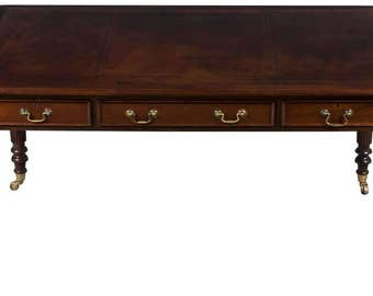 Vintage Mahogany Leather Top Writing Desk