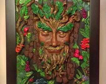 Green Man Deity Sculpture