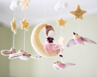 Moon Baby Mobile, Needle Felted Fairy Baby Mobile, Baby Doll Nursery Decor, Baby Shower Gift