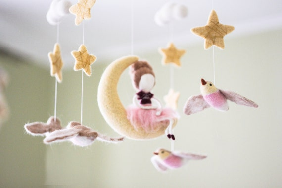 Moon Baby Mobile Needle Felted Fairy Baby Mobile Baby Doll