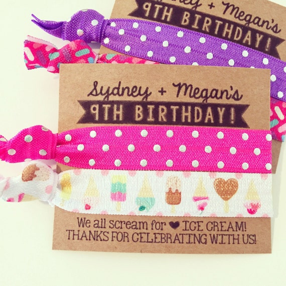 Ice Cream Social Birthday Party Hair Tie Favors | Ice Cream Social Party, Custom Hair Tie Favors, Personalized Party Favors, Hot Pink Purple
