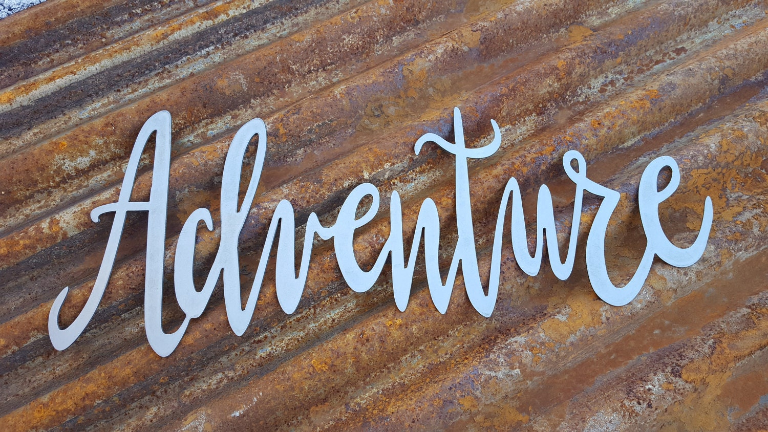 Adventure word signs metal word signs farmhouse for Another word for decoration