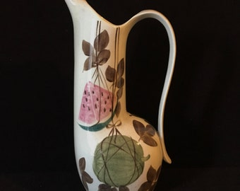 "Vintage Red Wing Pottery Tampico Pattern 64oz Pitcher 12"" Retro Cool"