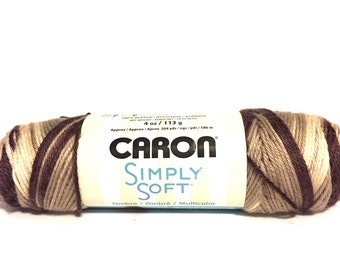 Caron Simply Soft, ombres yarn, medium weight yarn, brown ombres yarn, coffee latte brown, cafe au lait, multicolor yarn, vatiegated yarn,