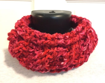 Red Knit neckwarmer, cable neck warmer, berry infinity scarf, knit infinity scarf, red neckwarmer, red infinity scarf, knit circle scarf