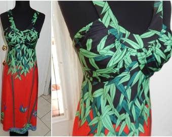 Vintage Tori Richards Hawaiian Tiki Pin Up Tropical Maxi Dress S/M