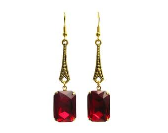 Art Deco earrings ruby red rhinestone Bridal Evening wear