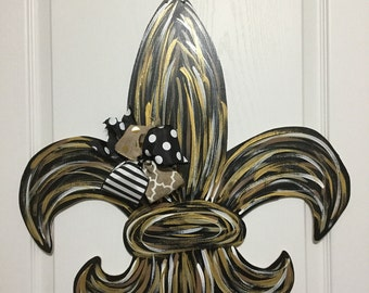 New Orlean Saints Fleur De Lis Wooden Door Hanger