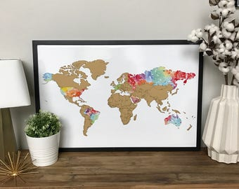 SALE!- Watercolor World Scratch-off Map