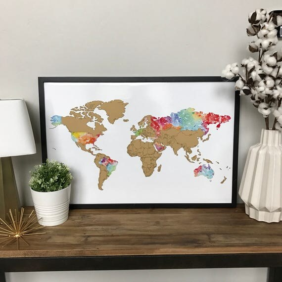 Watercolor World Scratch Off Map