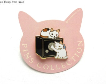 NEW Pottering Cat Trying to Open Safety Box Pin, Kawaii