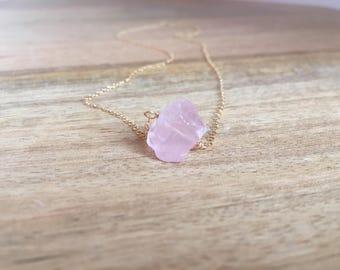Raw Rose Quartz Necklace - Rose Quartz - Rose Quartz Necklace - Raw Crystal Necklace - Quartz Necklace - Gift For Her- Rose Quartz Jewelry