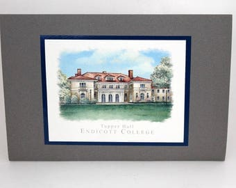 Endicott College, Tupper Hall, Note Cards and Envelopes, Vintage Stationery, Set of Five