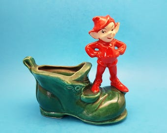 Vintage Ceramic Elf or Pixie on a Shoe Planter