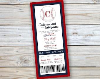 "Baseball - Baby Shower Invitation - 4x9.25"" -Baby Boy Shower - Baseball Ticket - Customized - Printable"