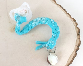 Blue with delicate white print, Braided, T-Shirt Yarn Pacifier Clip, Cotton Pacifier Clip, Binky Clip, Soother Clip, Teething Toy Clip