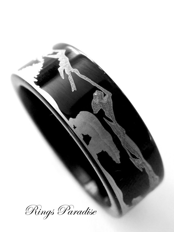 Bears In Mountains Forest Landscape Black Tungsten Wedding Band Rings Custom Made Engagement
