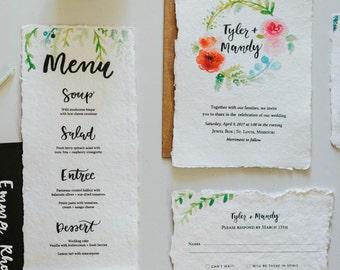 Semi-Custom Watercolor Wedding Invitation Suite   Bohemian Wedding   Hand Lettered Invitation   Watercolor Design   Invitation Suite