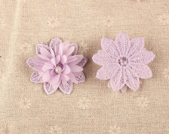 10 x Flower with Pearl Centre 3D motifs 50mm, Sew On Stitching Fabric DIY Fashion
