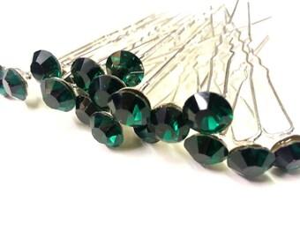 20pcs GREEN - 8mm Glass Crystal Rhinestone Diamante Wedding Bridal Prom Hair Pin