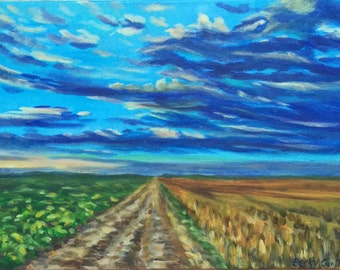 Original 12x16 Painting-Blue sky and clouds-Acrylics- countryside landscape-art on canvas-farm field- Wall Art-home decor