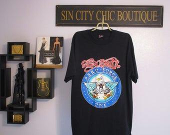 Aerosmith Shirt // Vintage T-shirt // Graphic Tee // Top // 90's // Retro // Black X-Large // Aero Force // Concert // Casual Streetwear.