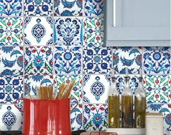 Tile Stickers Vinyl Decals for backsplash kitchen or bath or floor :  Turkish Patchwork TK001