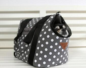 Pet carrier, dog carrier: The Polka dot GREY