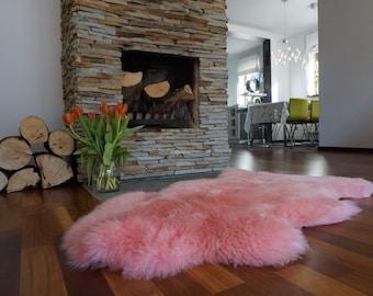 "BIG SHEEPSKIN PINK Area Rugs Throw Genuine leather Sheep Skin 50"" x 28"" Decorative rug Natural comfy area rugs outdoor fur rug"