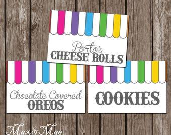 Candy Shoppe Food Tags, Candy Shoppe Birthday, Ice Cream Shoppe, Food Labels, Candy Food Labels, Rainbow Shoppe, Digital, Printable