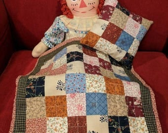 Doll Quilt, Doll Pillow, Doll Blanket, Doll Accessories