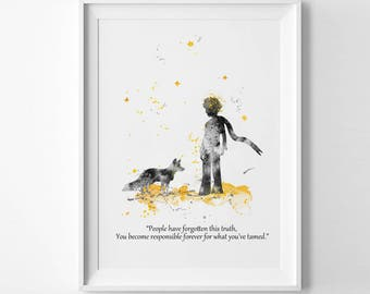 The Little Prince And Fox Print Le Petit Prince prints prince and fox tamed Ink Saint-Exupéry Painting Wall art Gift baby shower gift (Nº9)